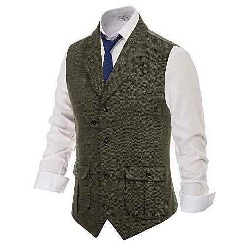 PJ PAUL JONES Men's British Tailored Collar Herringbone Tweed Suit Vest with Flap Pockets