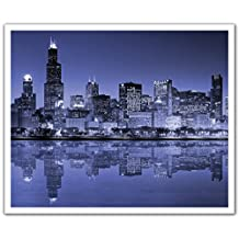 J.P. London Peel and Stick Removable Wall Decal Sticker Mural, New York City Lights Skyline, 24 by 19.75-Inch