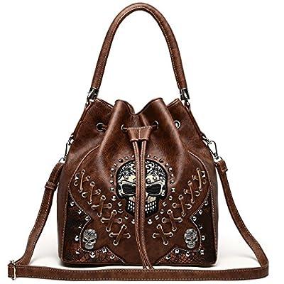 Sugar Skull Punk Art Rivet Studded Concealed Carry Purse Women Handbag Fashion Shoulder Bag Wallet Set