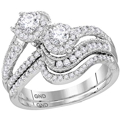 Mia Diamonds 14kt White Gold Womens Round Diamond 2-stone, used for sale  Delivered anywhere in USA
