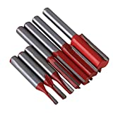 CNBTR 1/4 Inch Shank Dia Silver & Red Carbide Woodworking Straight Router Bit Set Pack of 7