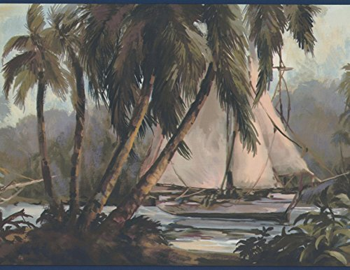 - Sail Boats in the Jungle Palm Trees Vintage Wallpaper Border Paint by Design, Roll 15' x 9''