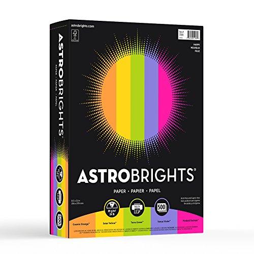 """Astrobrights Color Paper, 8.5"""" x 11"""", 24 lb / 89 gsm, """"Happy"""" 5-Color Assortment, 500 Sheets"""