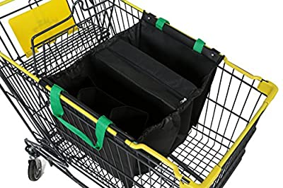 Reusable Grocery Cart Trolley Bag. Foldable Shopping Tote Bag with Insulated Cooler Pouch, Bottle Sleeves. Makes Packing Sorting Easy. Grab This Cool Bag and Go Shopping with Eco Friendly CityBasket.