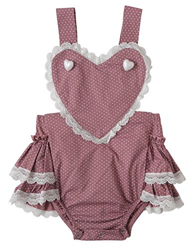 Messy Code Baby Girls Romper Infant Bodysuit Toddlers Boutique Heart Ruffle With Lace Jumpsuit Girl Clothes Purple 6-12 Months