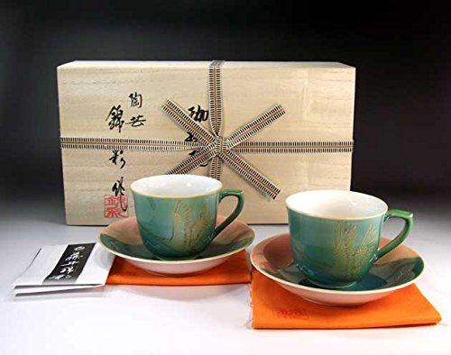 Japanese traditional crafts   Arita - MidoriAyaçÖ‹àAya auspicious Fuji crane picture coffee cup pair set   potter Fujii NishikiAya