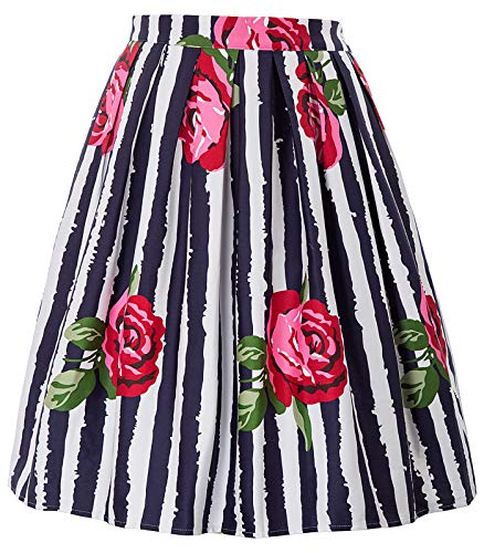 Vintage Floral Pleated Midi Skirt Knee Length Size XL CL6294-39