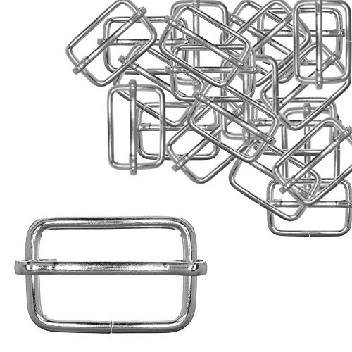 30 Pack Slide Buckles 1 Inch Silver Metal Tri-Glide Slides - Adjustable Rectangle Webbing Slider - Tri-Glides for Purses, Bags, Suspenders, DIY Accessories, and More