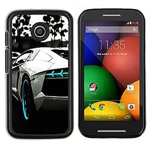 Qstar Arte & diseño plástico duro Fundas Cover Cubre Hard Case Cover para Motorola Moto E (B & W Azul Aventador)
