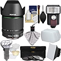 Pentax SMC DA 18-135mm f/3.5-5.6 ED AL DC WR Zoom Lens with 3 UV/CPL/ND8 Filters + Flash + Soft Box + Diffuser + Kit