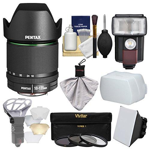 Pentax SMC DA 18-135mm f/3.5-5.6 ED AL DC WR Zoom Lens with 3 UV/CPL/ND8 Filters + Flash + Soft Box + Diffuser + Kit