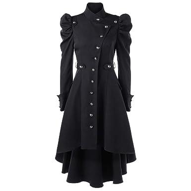 STORTO Womens Vintage Steampunk Long Coat,Plus Size Gothic Retro Button Jacket