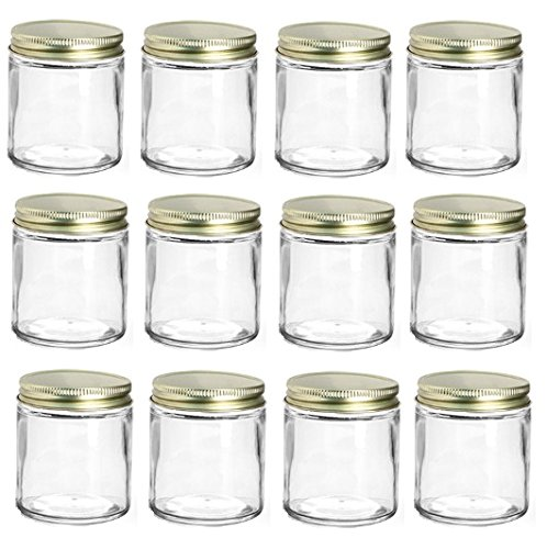 Nakpunar 12 pcs 4 oz Straight Sided Glass Jars with Gold Metal Lids with Plastisol Liner (Gold, 12)]()