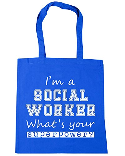 HippoWarehouse I'm A Social Worker What's Your Superpower? Tote Shopping Gym Beach Bag 42cm x38cm, 10 litres Cornflower Blue