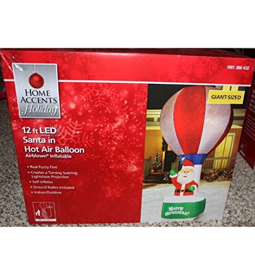 Home Accents Holiday 12 ft LED Santa in Hot Air Balloon Airblown Inflatable by holiday home accent