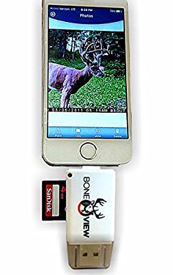 BoneView Trail and Game Camera Viewer for Apple iPhone, iPad, iPod | Lightning connector with Extender | Reads SD, SDHC and Micro SD Cards