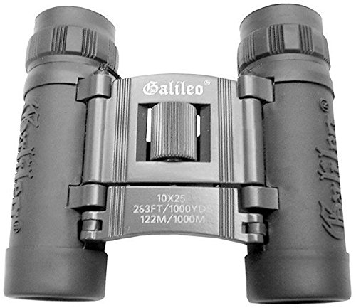 Galileo 10x25mm Roof Prism Fully Coated Binoculars, Black -