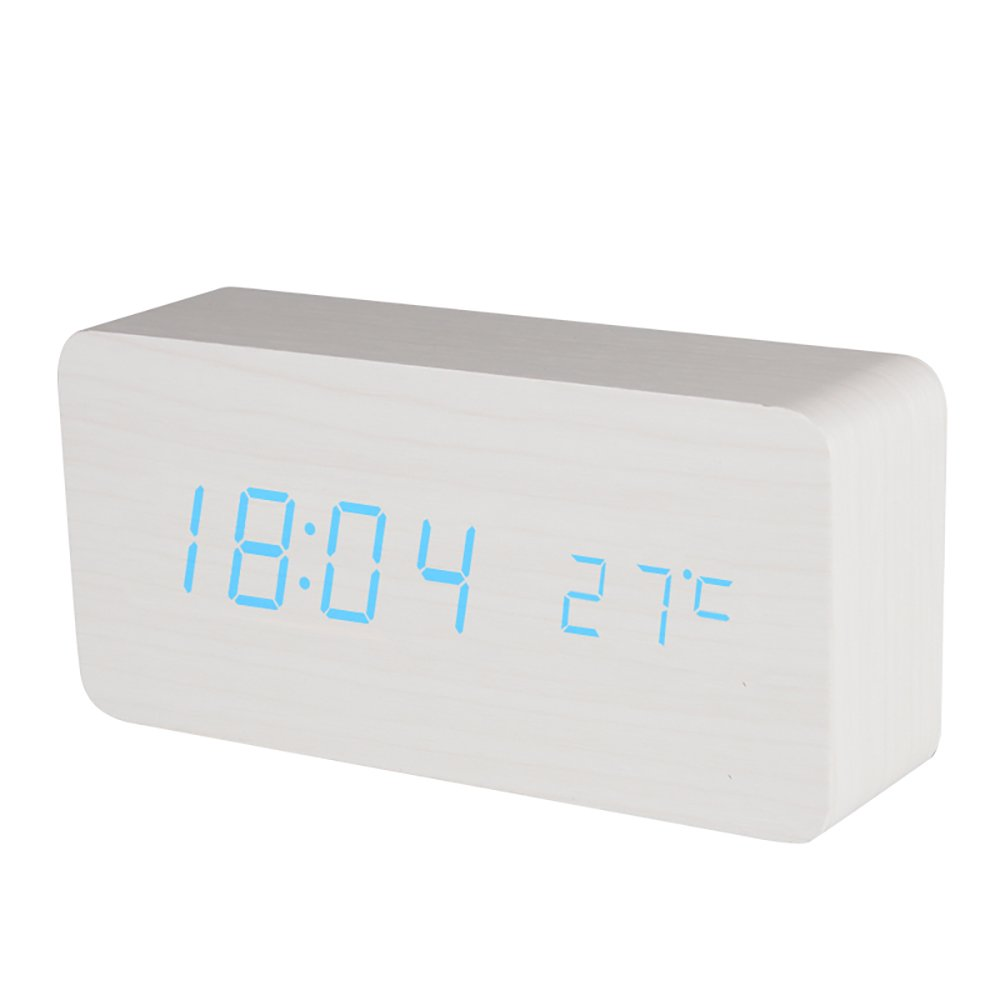 BALDR Wooden Alarm Clock Digital, White Wood Blue Light