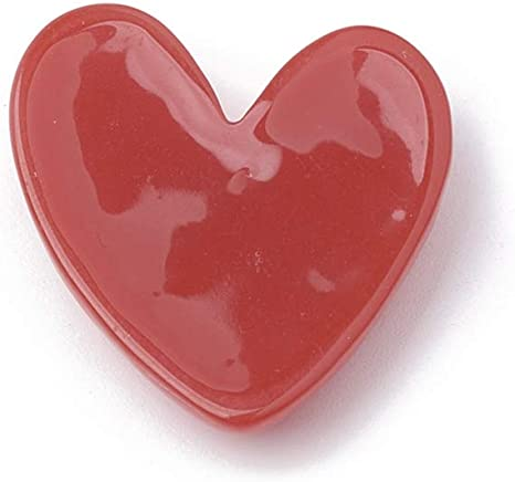 LiQunSweet 200 Pcs Resin Cabochons Sweet Red Heart Slices Flatback Slime Charms for Buttons Handcraft Accessories Scrapbooking Phone Case Decor 27mm