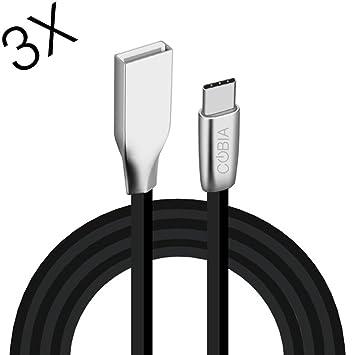 COBIA 3 Pack de 3.3ft/1M Zinc Aleación Tipo C Cargador y Cables de Datos Cable Plano con Carga Rápida para Samsung Galaxy S8/S8+, Nintendo ...