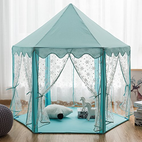 Pericross Snowflake Sheer Hexagon Princess Play Tent with Silver Tone Aluminum Alloy Frame and 10M Brass Wire 100 Diodes LED Warm White Lights (Cyan) -