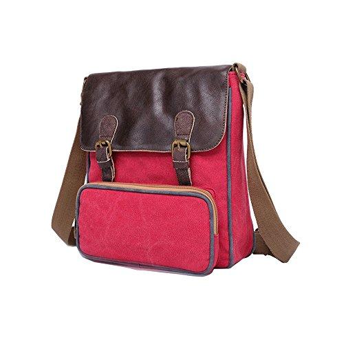 Satchel Weekender Casual Men Bag Messenger Rojo VRIKOO Blue Bag Canvas Shoulder Bag Fashion Schoolbag Xx6q1S