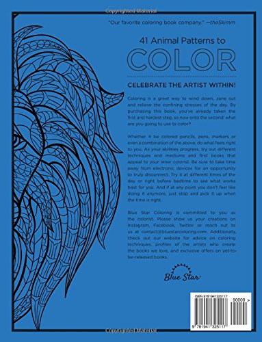 Adult Coloring Book Stress Relieving Animal Designs Amazoncouk Blue Star 9781941325117 Books
