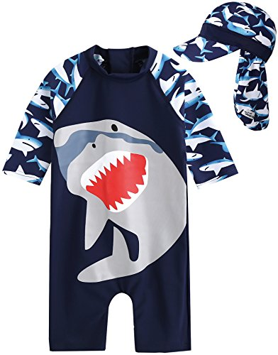 Vaenait Baby 0-24M Baby Boys Rashguard Swimwear with Swimhat 2pcs Cooling Jaws L