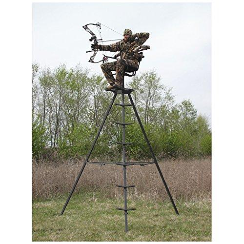 Sniper sentinel 13 swivel tripod deer stand for Deer stand steps