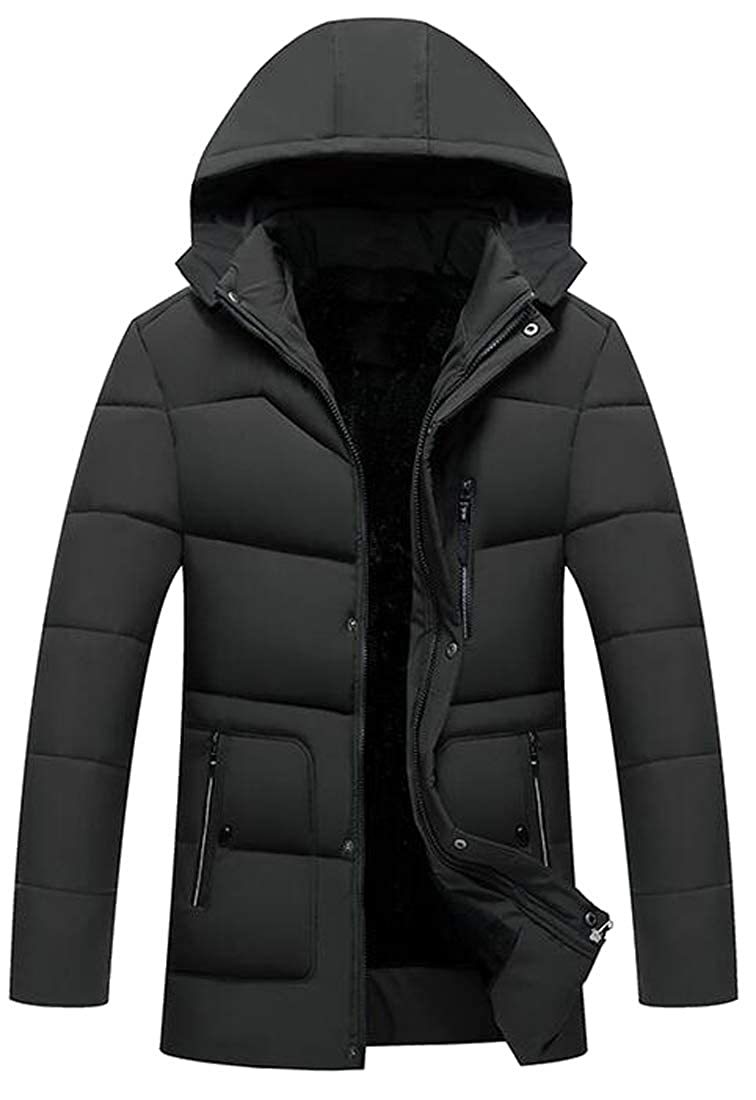 XTX Mens Winter Hooded Faux Fur Lined Warm Down Quilted Coat Jacket Outwear