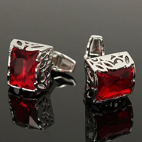 Arts Crafts & Sewing Needlework Tools & Accessories - Men Square Red Crystal Cufflinks Wedding Party Gift Suit Shirt Silver Sleeve Nail - one pair of cufflinks
