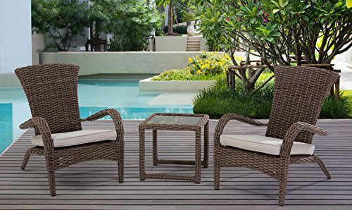 Sunjoy S-BS1123SST-KD Wicker 3 Piece Bistro Set, Brown -