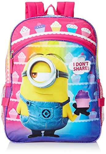 Despicable Me Girls' Purple 16 Inch Backpack with Detachable Lunch Bag, Multi, One (Despicable Me Backpack)