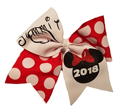 Cheer bows White and Minnie polkadot Summit Hair -