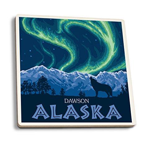 Lantern Press Dawson, Alaska - Northern Lights (Set of 4 Ceramic Coasters - Cork-Backed, Absorbent)