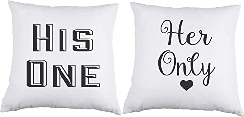 PartyPoshDesigns His One Her Only White Satin Throw Pillow 16 inch Square with Insert Included Set of 2