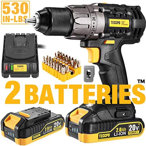 Cordless Drill, 20V Drill Driver 2x2000mAh Batteries, 530 In-lbs Torque, 24 1 Torque Setting, Fast Charger 2.0A, 2-Variable Speed, 33pcs Accessories, 1 2 Metal Keyless Chuck, Upgraded Version