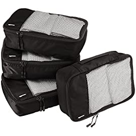 AmazonBasics 4 Piece Small Packing Travel Organizer Cubes Set 4 Double zipper pulls make opening/closing simple and fast Mesh top panel for easy identification of contents, and ventilation Soft mesh won't damage delicate fabrics