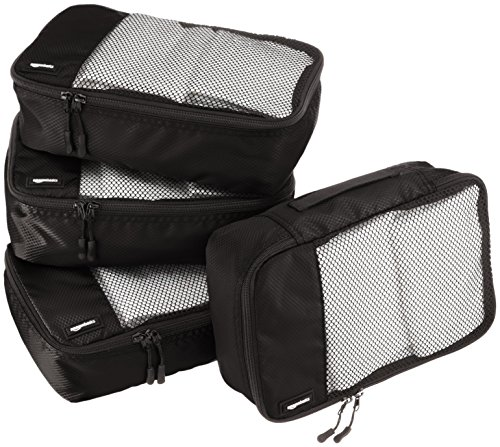 AmazonBasics 4 Piece Small Packing Travel Organizer Cubes Set - Black ()