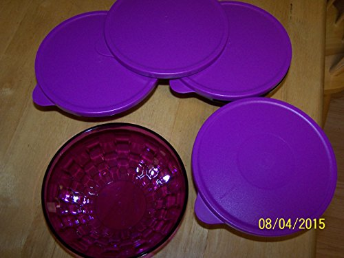 (Tupperware Small 2cup Ice Prism Bowl Set of (4) Sheer Sparkling Purple with Purple Seals)