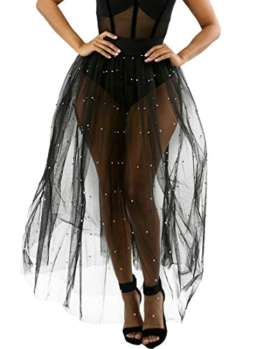 - Wofupowga Women's Mesh Beaded Sexy Pure Color See Through Long Tulle Chic Beading Skirts Black L