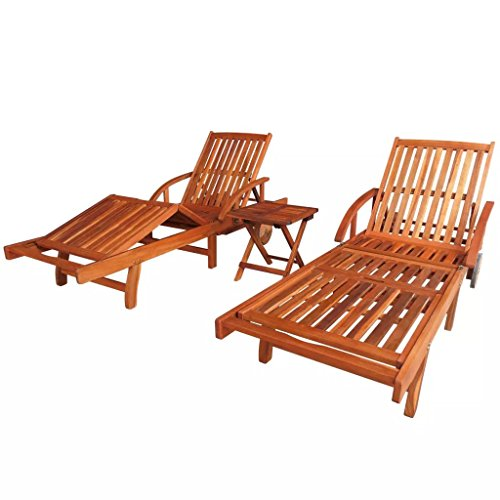 (Festnight Set of 2 Outdoor Patio Wood Chaise Lounge Chairs with 2 Wheels, Convenient Pull-Out Table, Side Coffee Table, Sun Lounger Set Solid Acacia Wood)