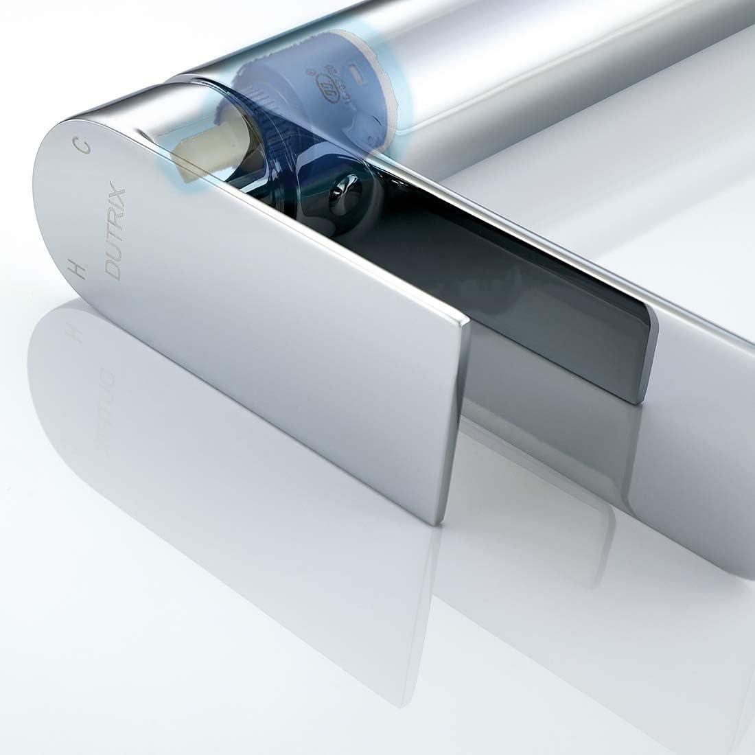 grifo de control dual fr/ío y caliente DUTRIX grifo de lavabo con Aireado de Pie Alto de lat/ón de ba/ño Superficie cromada