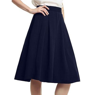 Women's Vintage A-line Skirt High Waist Flared Skirt Pleated Midi Skirt with Pocket Navy Blue M: Clothing