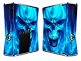 Bundle Monster Vinyl Skin Sticker For Xbox 360 S Slim Game Console - Cover Protector Art Decal - Blue Skull