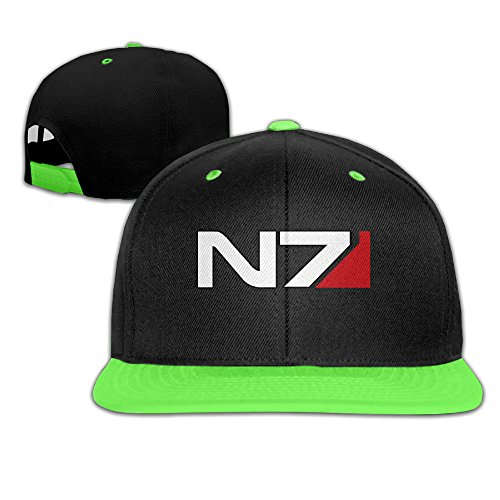 Price comparison product image ROUNG Mass Effect Alliance N7 Youth Children Girl Boy Kids Hip-Hop Cap KellyGreen