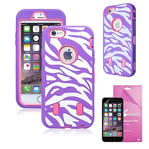 iPhone 6 Case, EpicGadget(TM) Purple Pink Zebra Print Design Rugged Impact Armor with Built-in Screen Protector Heavy Duty Hybrid Case Cover for iPhone 6 [4.7] + HD Screen Protector (Purple (Zebra Design Protector Case)