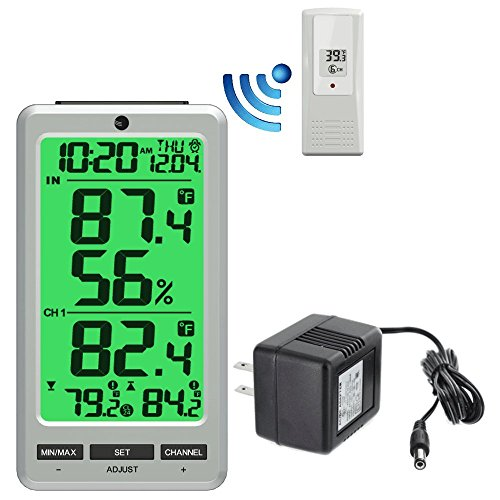 Ambient Weather WS-24 Big Digit 8-Channel Wireless Thermometer with AC ()