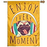 HUANGLING Happy Dog Listening Music Enjoy Every Moment Quote Funny Image Pet Animal Fun Decorative Home Flag Garden Flag Demonstrations Flag Family Party Flag Match Flag 27''x37''