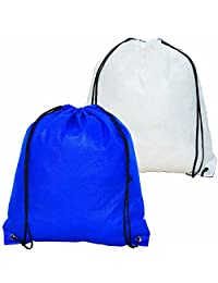 Bags for LessTM Drawstring Backpack Front/back Reversible White with Royal Blue